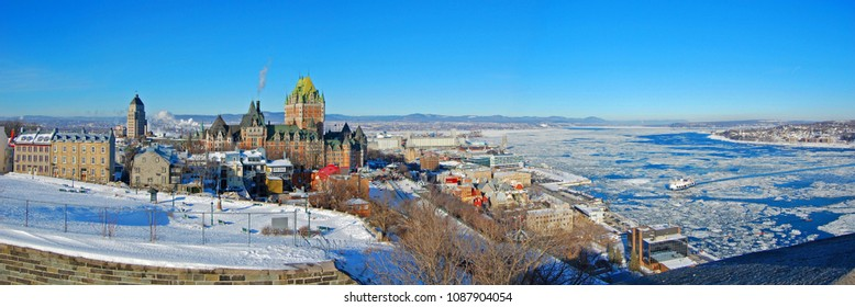 Chateau Frontenac of Quebec City and St Lawrence River panorama in winter, viewed from La Citadelle, Quebec City, Quebec, Canada.