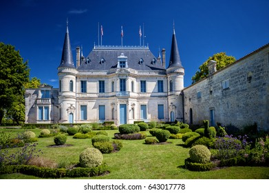 Chateau Palmer - Bordeaux. Margaux. France July 1, 2016 - The wine produced here, was classified as one of fourteen Troisièmes Crus in the historic Bordeaux Wine Official Classification of 1855