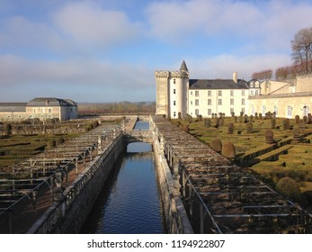 Chateau Villandry, Loire Valley, France - December 29, 2016: Frosty winter day does not stop tourists from visiting the chateau.