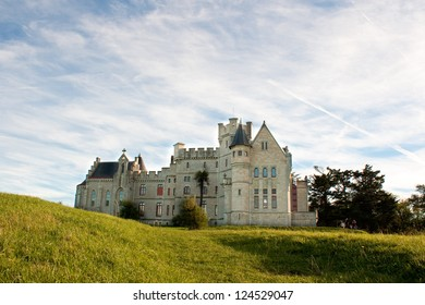 Chateau-Observatory Abbadia, overhanging the clives of Hendaye, France. Built by Viollet le Duc for Antoine d'Abbadie, ethnologist, geographer, scientist.