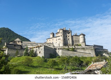 Chateau-Queyras (Hautes-Alpes, Provence-Alpes-Cote d'Azur), the historic castle at summer