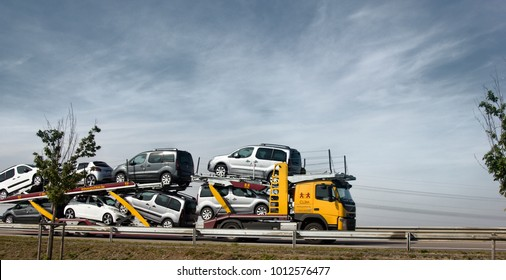 Chateau-Thierry, France - September 21, 2017: haulaway loaded passenger cars, transportation of cars, car transporter, car carrier