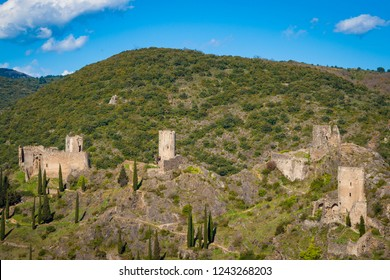 The Chateaux de Lastours, in Occitan Lastors, four so-called Cathar castles on a rocky spur above the French village of Lastours