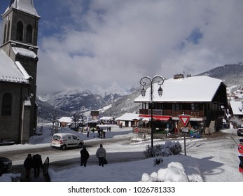 CHATEL, FRANCE - FEB 12, 2018 - New snow   in small alpine village of Chatel, France