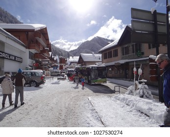 CHATEL, FRANCE - FEB 12, 2018 - Ski bus shuttle navette in small alpine village of Chatel, France