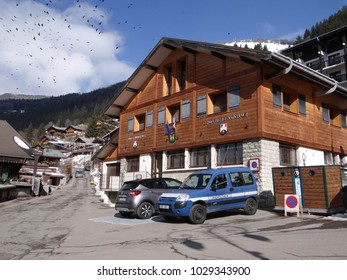 CHATEL, FRANCE - FEB 20, 2018 - Police station gendarmerie in small alpine village of Chatel, France