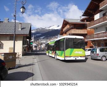 CHATEL, FRANCE - FEB 20, 2018 - Ski bus shuttle navette in small alpine village of Chatel, France