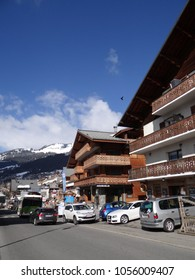 CHATEL, FRANCE - FEB 20, 2018 - Chalet hotels along the main street of small alpine village of Chatel, France