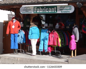 CHATEL, FRANCE - FEB 20, 2018 - Women shopping for ski outfits in small alpine village of Chatel, France