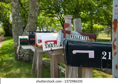 CHATHAM, CAPE COD, MASSACHUSETTS, USA – JUNE 17,2015: Row of different mailboxes at Chatham, Cape Cod, Massachusetts, USA.