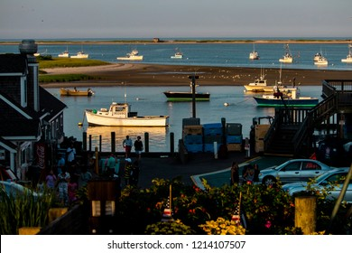 Chatham Harbor, Massachusetts, USA: July 20th, 2018: Chatham Harbor during the setting sunlight.