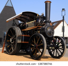 Chatham, Kent / UK - 04/22/2019: 1921 Fowler traction engine 'Lord Roberts' at 2019 Festival of Steam & Transport at Historic Dockyard.