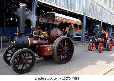 Chatham, Kent / UK - 04/22/2019: 1923 Fowler traction engine 'Sir Douglas' (l) and Foster traction engine 'Johnboy' (r) at 2019 Festival of Steam & Transport at Historic Dockyard.