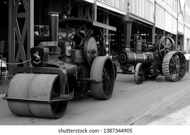 Chatham, Kent / UK - 04/22/2019: 1930 Aveling & Porter steamroller 'Andrea' (l) and Burrell traction engine (r) at 2019 Festival of Steam & Transport at Historic Dockyard.
