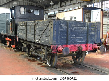 Chatham, Kent / UK - 04/22/2019: 1941 diesel shunter 'Overlord' with wagon at Historic Dockyard.
