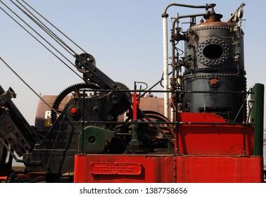 Chatham, Kent / UK - 04/22/2019: 1943 Grafton steam railway crane no 2675 at Historic Dockyard.