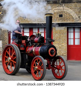 Chatham, Kent / UK - 04/22/2019: Burrell traction engine at 2019 Festival of Steam & Transport at Historic Dockyard.