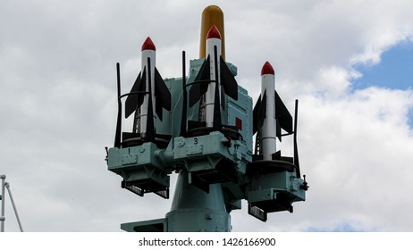 Chatham Kent UK June 15th 2019 HMS Cavalier rockets system at the historic dockyards and on show to the public.