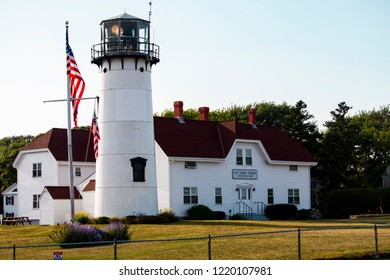 Chatham, Massachusetts, USA: July 20th, 2018: A shot of the Chatham Coastguard Lighthouse Station during a summer afternoon.