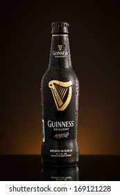 CHATHAM, NJ - DECEMBER 29, 2013: Photo of the new USA imported Draught Guinness bottle. Guinness is a popular Irish stout and one of the most successful beer brands worldwide.