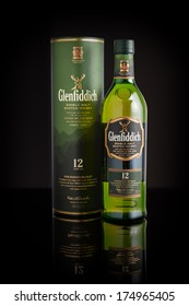 CHATHAM, NJ - FEBRUARY 4, 2014: Photo of a 12 year old Glenfiddich single malt scotch whisky. Glenfiddich means 'Valley of the Deer' in Gaelic, reason for the stag symbol on the bottle.