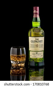 CHATHAM, NJ - JANUARY 11, 2014: Glass and  bottle of Glenlivet single malt scotch whisky. The Glenlivet brand is the biggest selling single malt whisky in the USA and the 2nd biggest globally.
