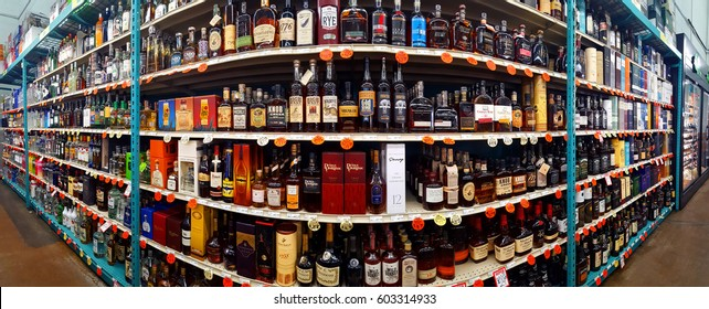 CHATHAM, NJ - MARCH 11, 2017: Spirits, scotch and whiskey aisle in a Bottle King store.  Bottle King is the largest New Jersey retailer of wine, beer and spirits.