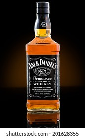 CHATHAM, NJ, UNITED STATES - JUNE 28, 2014:  Jack Daniel's whiskey bottle. Jack Daniel's is a brand of sour mash Tennessee whiskey and the highest selling American whiskey in the world.