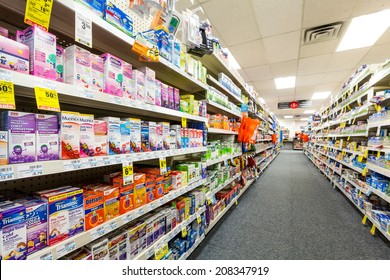 CHATHAM, NJ, USA - JULY 31, 2014: Aisle in a CVS pharmacy. CVS is the second largest pharmacy chain in the United States with more than 7,600 stores and ranked as the 13th largest company in the world