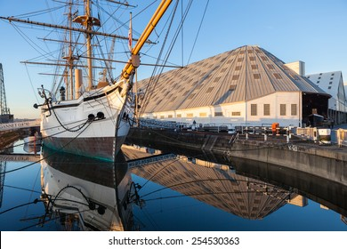 CHATHAM, UNITED KINGDOM - NOVEMBER 24, 2014: The HMS Gannet, a Victorian war ship, is now on display at The Historic Dockyard Chatham.