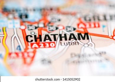 Chatham. United Kingdom on a geography map