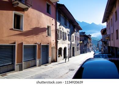 Chatillon street in morning, Aosta valey, Italy.