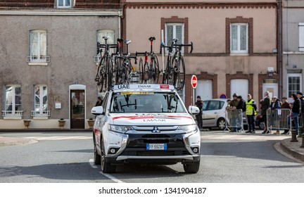 Chatillon-Coligny, France - March 12, 2019: : The technical car of UAE Team Emirates driving in Chatillon-Coligny during the stage 2 of Paris-Nice 2019.