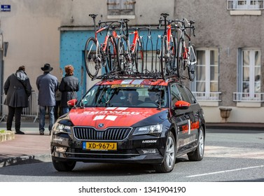 Chatillon-Coligny, France - March 12, 2019: : The technical car of Team Sunweb driving in Chatillon-Coligny during the stage 2 of Paris-Nice 2019.