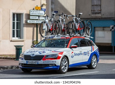 Chatillon-Coligny, France - March 12, 2019: : The technical car of Groupama-FDJ Team driving in Chatillon-Coligny during the stage 2 of Paris-Nice 2019.