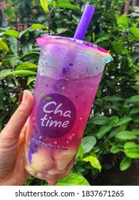 Chatime is a Bubble Tea franchised. Combined with a variety of toppings. Selective focus. Surabaya, Indonesia, March 1, 2020