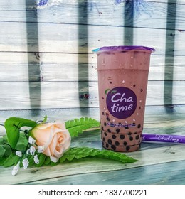 Chatime is a Bubble Tea franchised. Combined with a variety of toppings. Selective focus. Surabaya, Indonesia  January 18, 2020