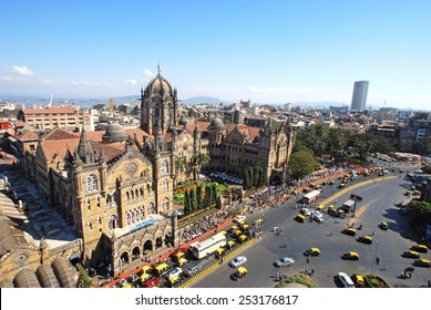 Chatrapati Shivaji Terminus Bird's eyeview and surrounding heritage precinct. Earlier Victoria Terminus it is a terminal, UNESCO World Heritage site and head- quarters for Central Railway. Copy space.
