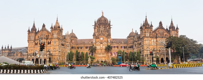 Chatrapati Shivaji Terminus earlier known as Victoria Terminus in Mumbai, India. Panorama