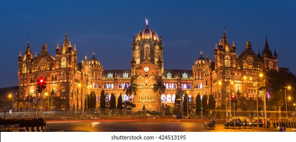 Chatrapati Shivaji Terminus earlier known as Victoria Terminus in Mumbai, India. Ninght panorama