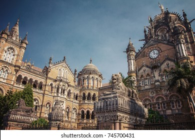 Chatrapati Shivaji Terminus earlier known as Victoria Terminus in Mumbai, India. Vintage color filter applied