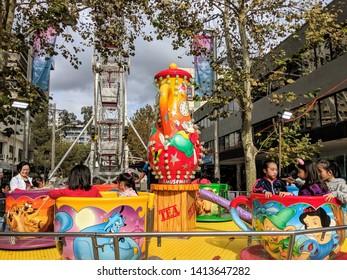 Chatswood, Sydney, NSW / Australia - 05 24 2019: canival Ferris wheel installation - Vivid Sydney Night Light festival for kids children family