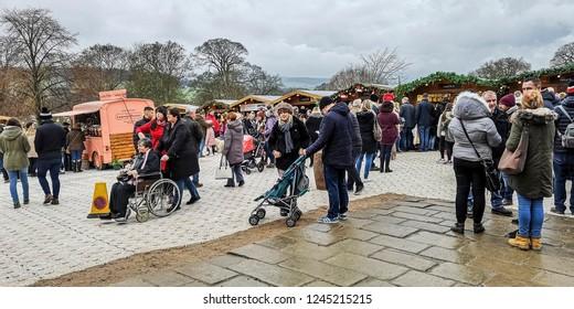 CHATSWORTH, UK - NOVEMBER 25, 2018: Christmas market at Chatsworth House in the Peak District, Derbyshire.