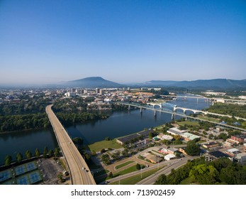 Chattanooga, Tennessee Aerial over Downtown and Riverfront with the iconic Four Bridges and Lookout Mountain