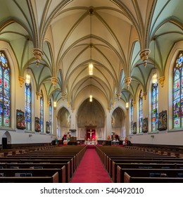 CHATTANOOGA, TENNESSEE - NOVEMBER 10: Interior of the Saints Peter and Paul Catholic Church on 8th Street on November 10, 2016 in Chattanooga, Tennessee