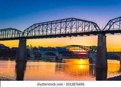 Chattanooga Tennessee Riverfront Sunset with Market Street Bridge and Walnut Street Bridge