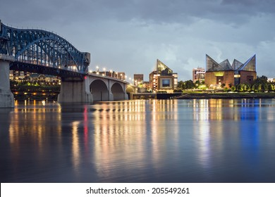 Chattanooga, Tennessee, USA downtown skyline at night.