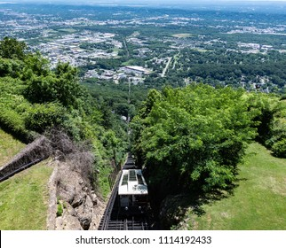 Chattanooga, Tennessee/ USA - June 6, 2018: Panoramic view of The Incline on Lookout Mountain looking down into the Tennessee River Valley. Built in 1895, this railway claims to be world's steepest.