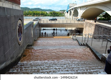 Chattanooga, Tennessee/USA- August 2019-The water steps in downtown Chattanooga.
