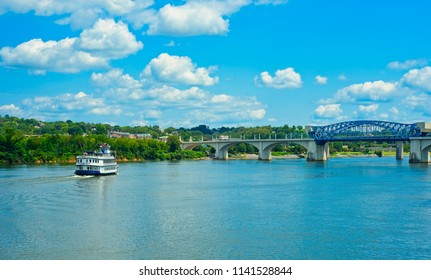 CHATTANOOGA, TN - AUGUST 23, 2017: The Southern Belle, an old-time riverboat popular for sightseeing excursions is seen heading up the Tennessee River in Chattanooga.